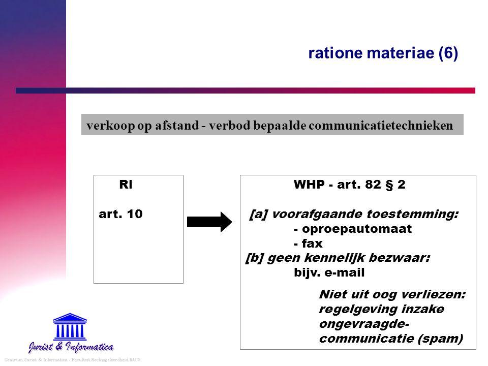 ratione materiae (6) verkoop op afstand - verbod bepaalde communicatietechnieken. Rl art. 10.
