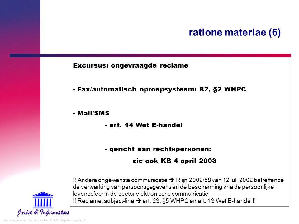 ratione materiae (6) Excursus: ongevraagde reclame