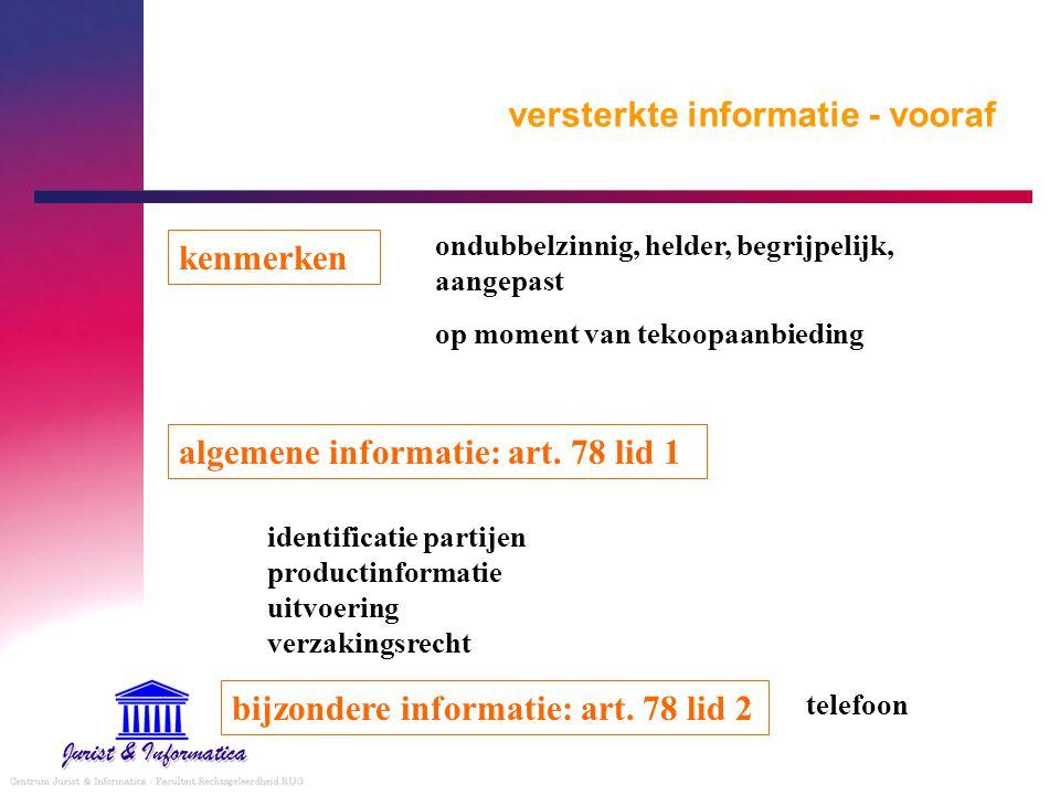versterkte informatie - vooraf