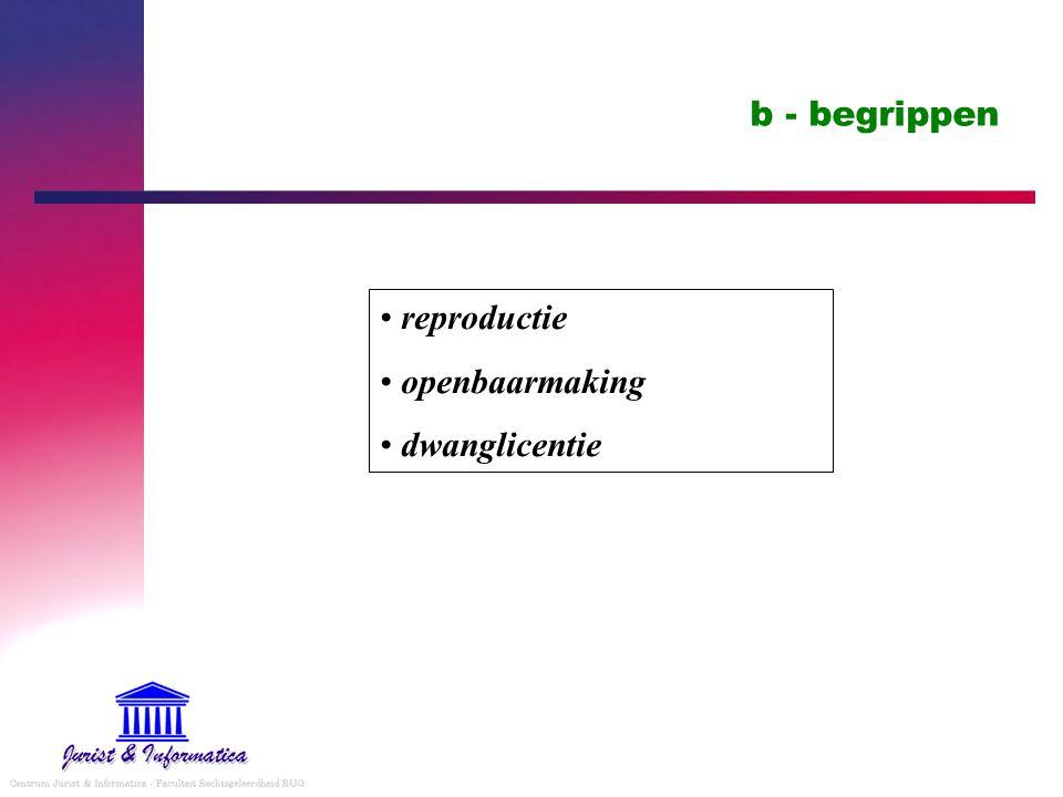b - begrippen reproductie openbaarmaking dwanglicentie