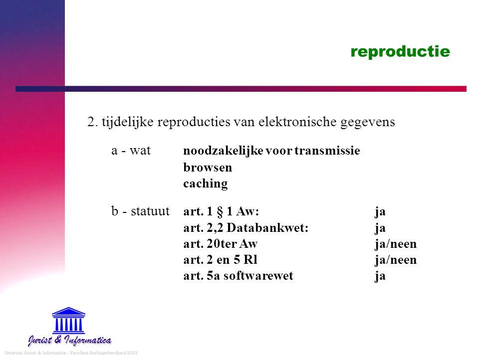 reproductie 2. tijdelijke reproducties van elektronische gegevens