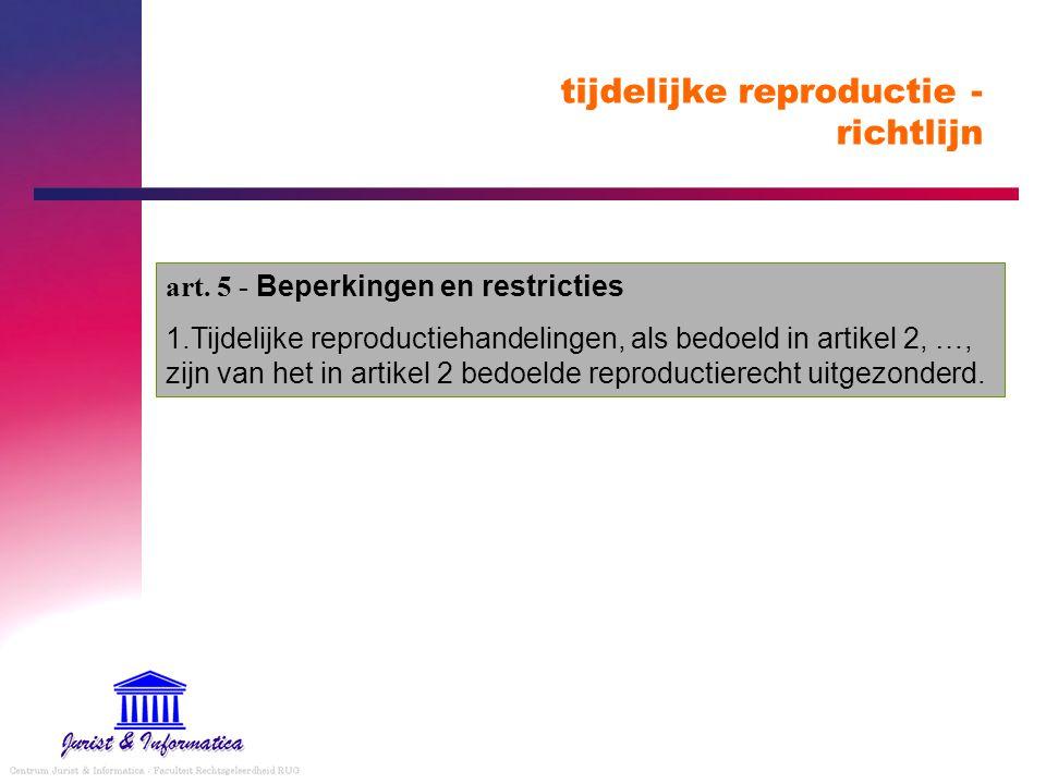 tijdelijke reproductie - richtlijn