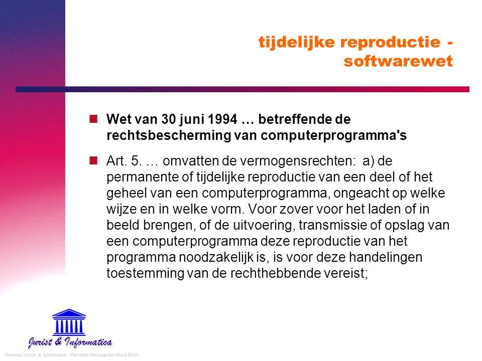 tijdelijke reproductie - softwarewet