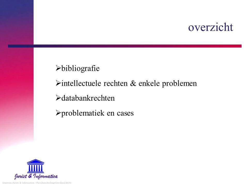 overzicht bibliografie intellectuele rechten & enkele problemen
