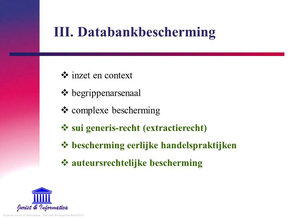 III. Databankbescherming