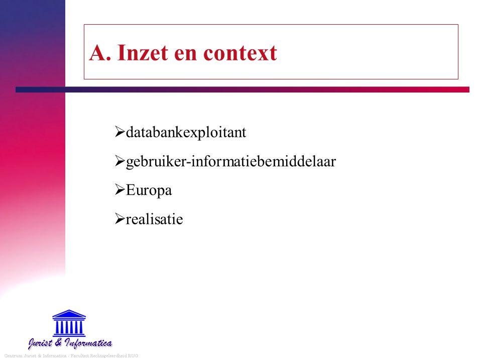 A. Inzet en context databankexploitant gebruiker-informatiebemiddelaar