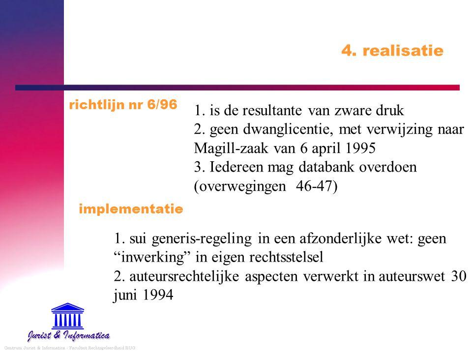 4. realisatie richtlijn nr 6/96.