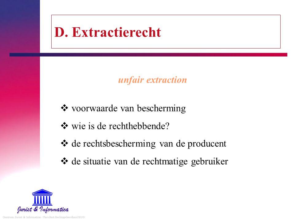 D. Extractierecht unfair extraction voorwaarde van bescherming