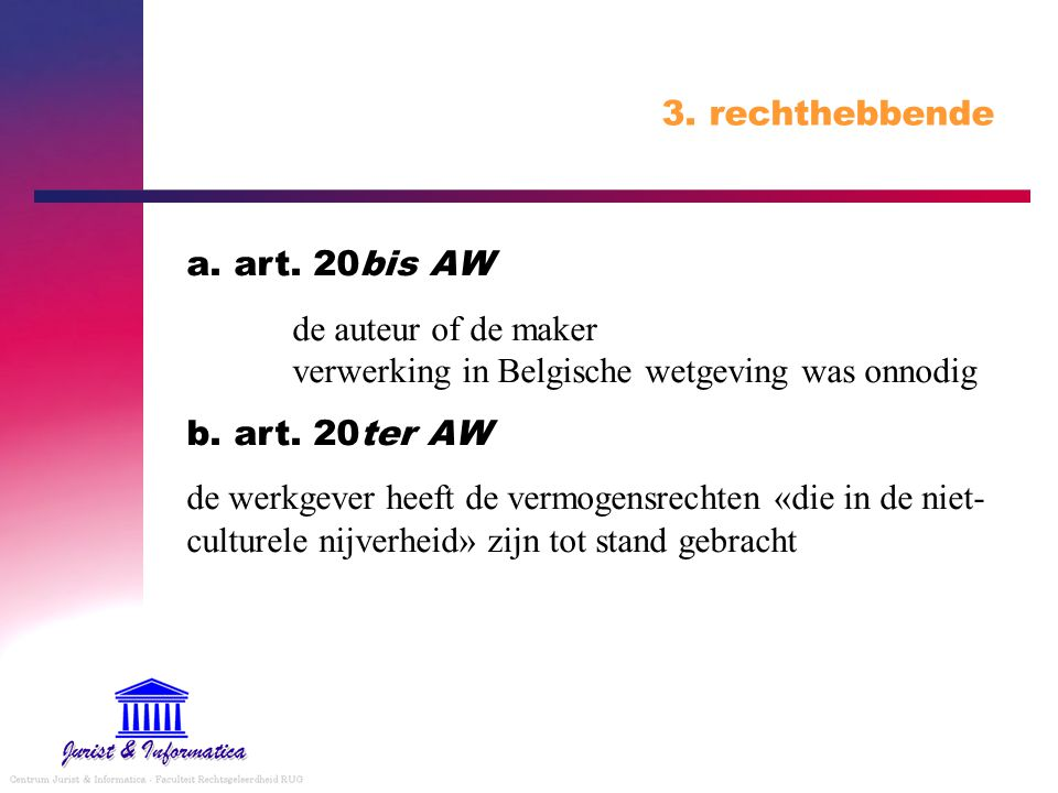 3. rechthebbende a. art. 20bis AW. de auteur of de maker verwerking in Belgische wetgeving was onnodig.