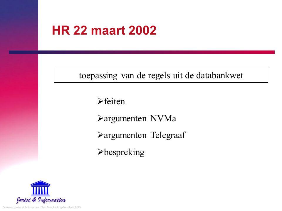 toepassing van de regels uit de databankwet