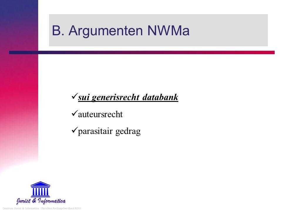 B. Argumenten NWMa sui generisrecht databank auteursrecht