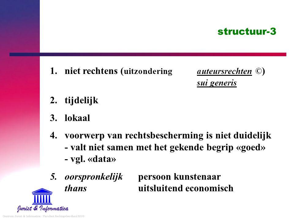 structuur-3 niet rechtens (uitzondering auteursrechten ©) sui generis. tijdelijk. lokaal.