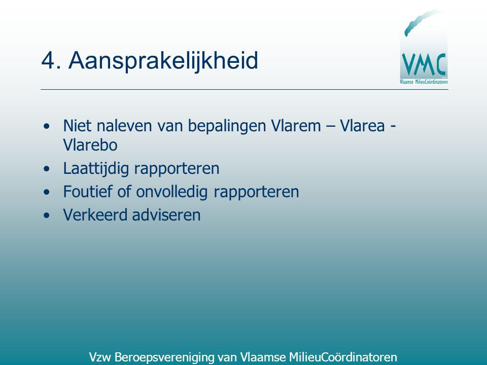4. Aansprakelijkheid Niet naleven van bepalingen Vlarem – Vlarea - Vlarebo. Laattijdig rapporteren.