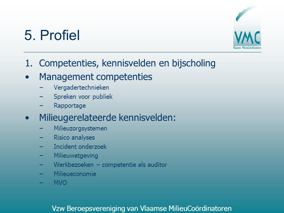 5. Profiel Competenties, kennisvelden en bijscholing