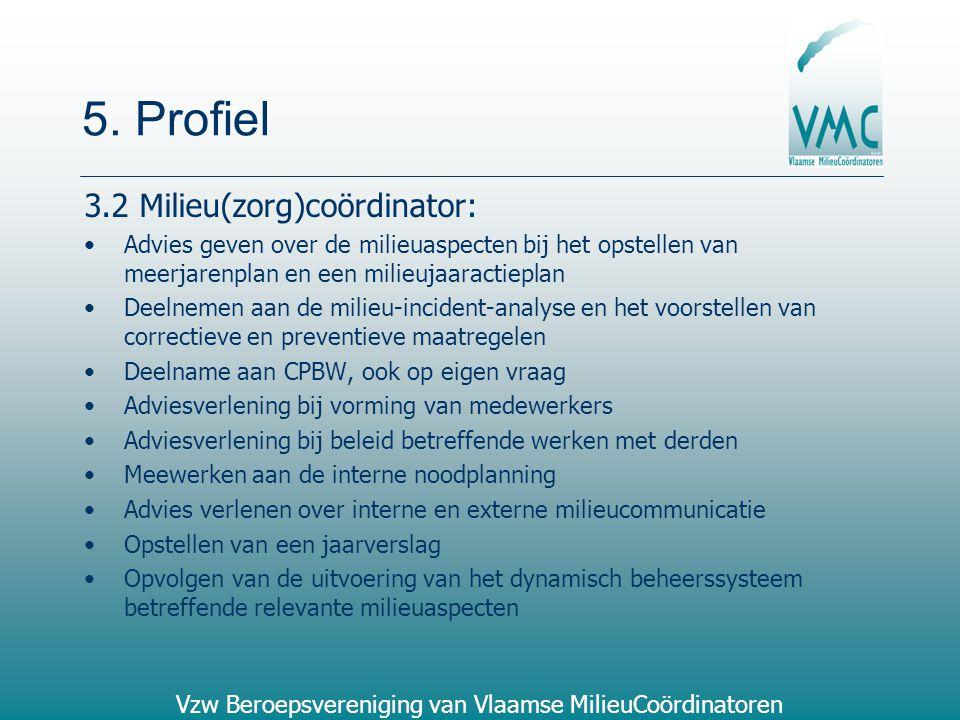 5. Profiel 3.2 Milieu(zorg)coördinator: