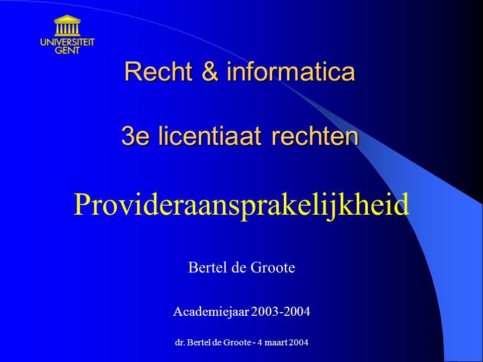 Recht & informatica 3e licentiaat rechten