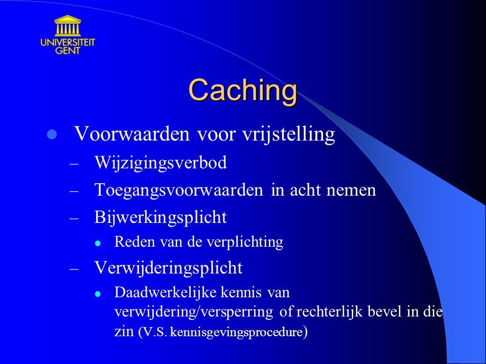 Caching Voorwaarden voor vrijstelling Wijzigingsverbod