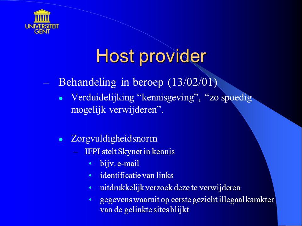 Host provider Behandeling in beroep (13/02/01)