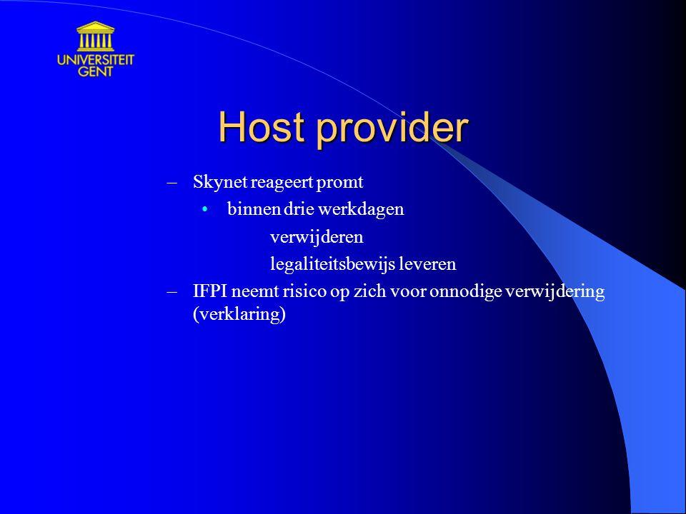 Host provider Skynet reageert promt binnen drie werkdagen verwijderen