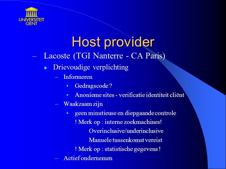 Host provider Lacoste (TGI Nanterre - CA Paris)