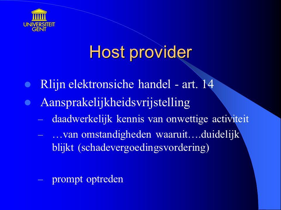 Host provider Rlijn elektronsiche handel - art. 14