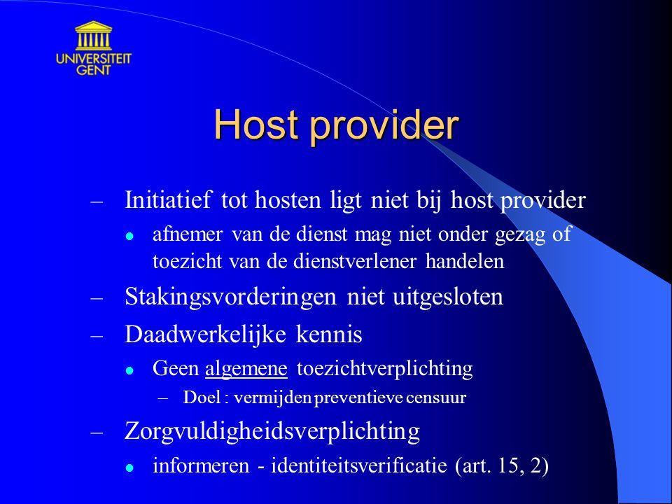 Host provider Initiatief tot hosten ligt niet bij host provider