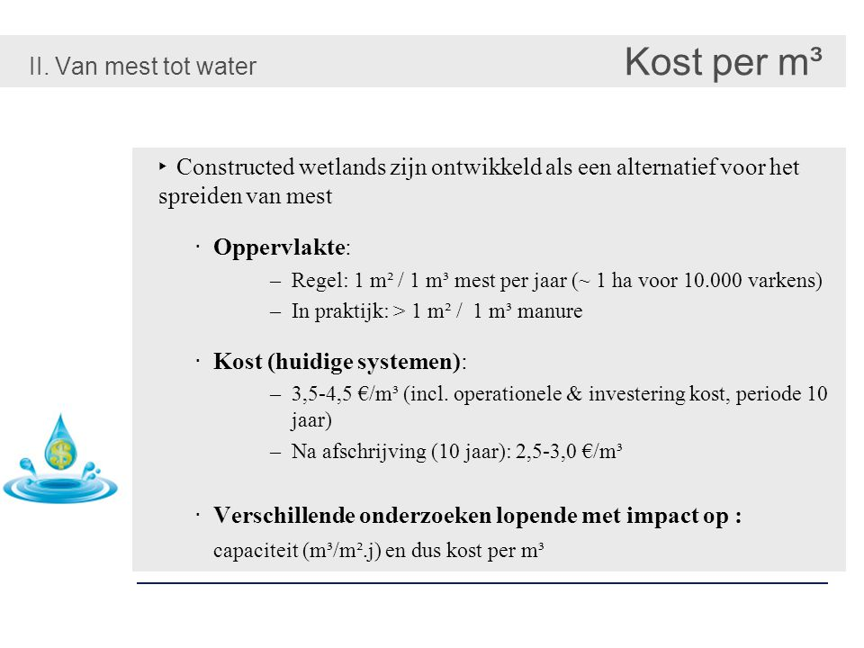 II. Van mest tot water Kost per m³