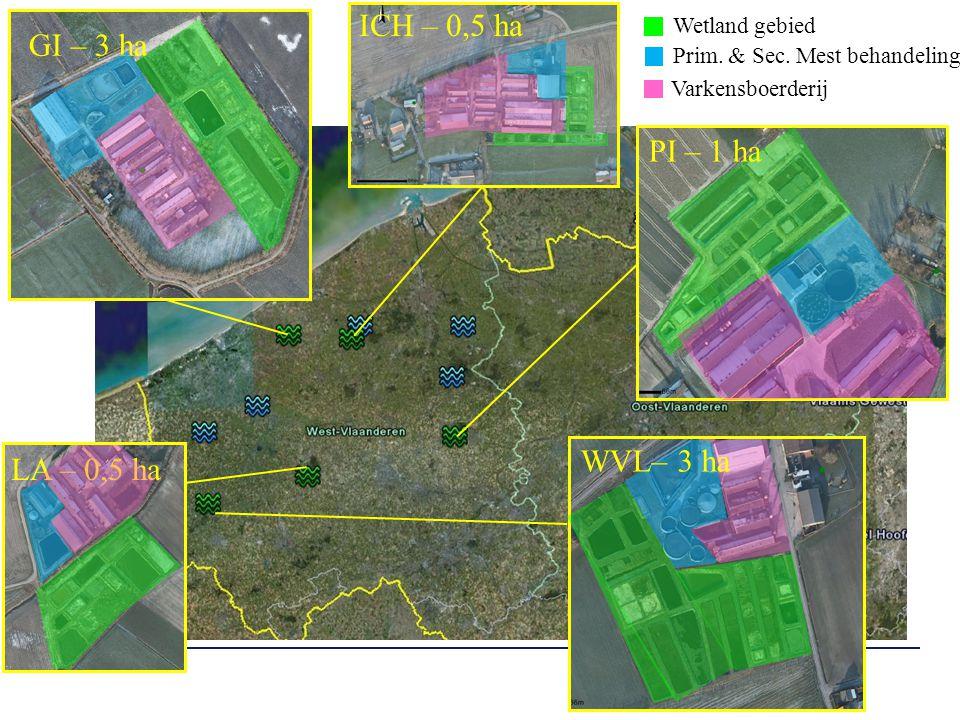 ICH – 0,5 ha GI – 3 ha PI – 1 ha WVL– 3 ha LA – 0,5 ha Wetland gebied