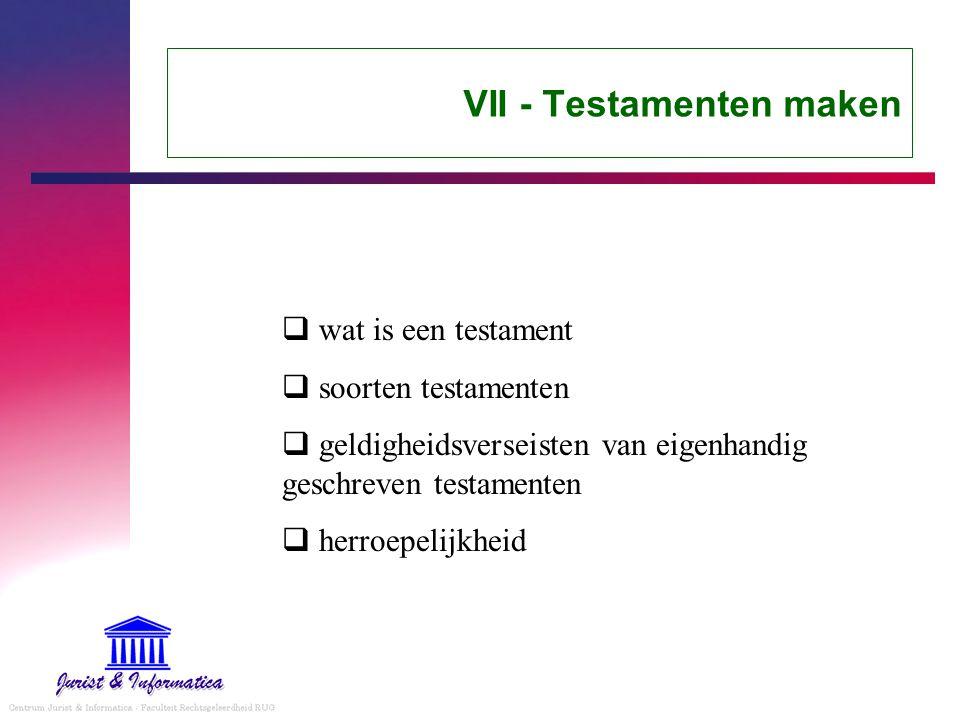 VII - Testamenten maken