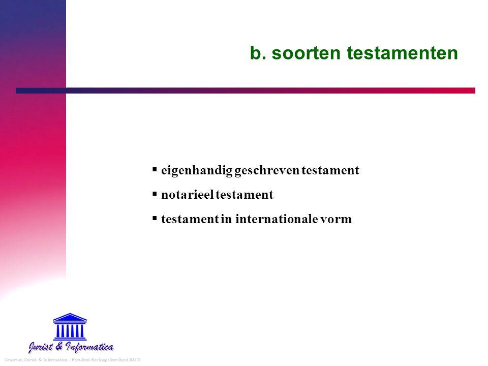 b. soorten testamenten eigenhandig geschreven testament