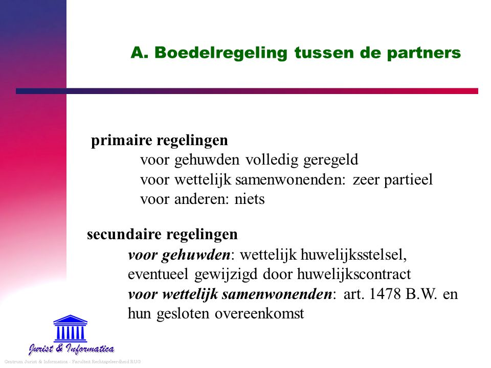 A. Boedelregeling tussen de partners