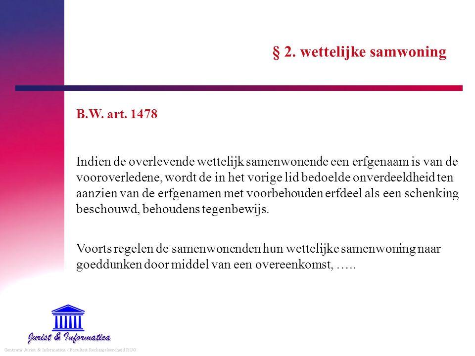 § 2. wettelijke samwoning