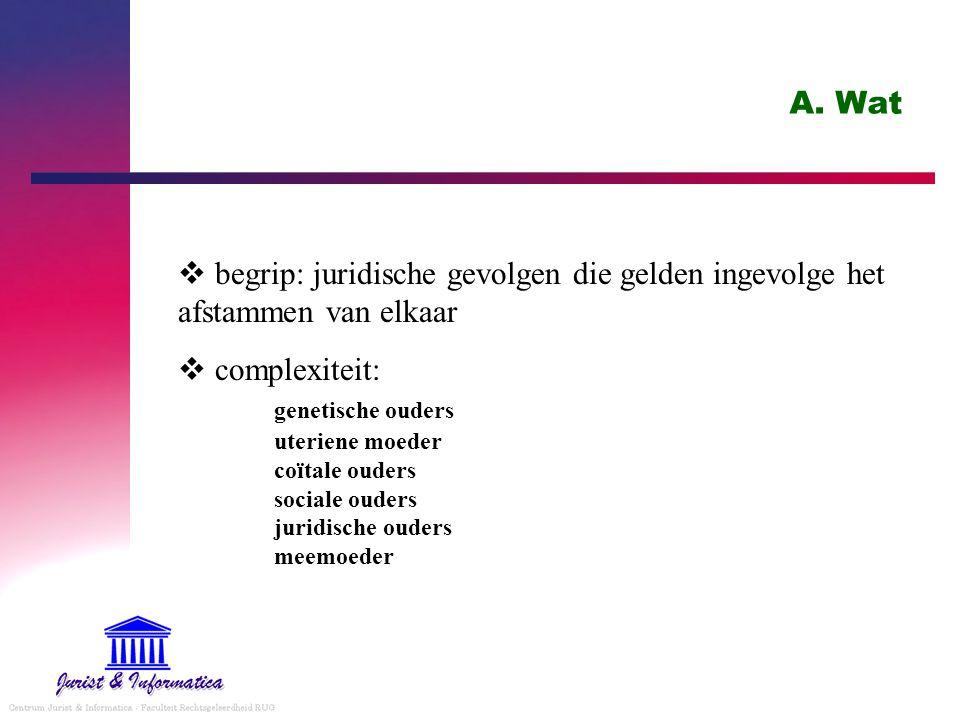A. Wat begrip: juridische gevolgen die gelden ingevolge het afstammen van elkaar.