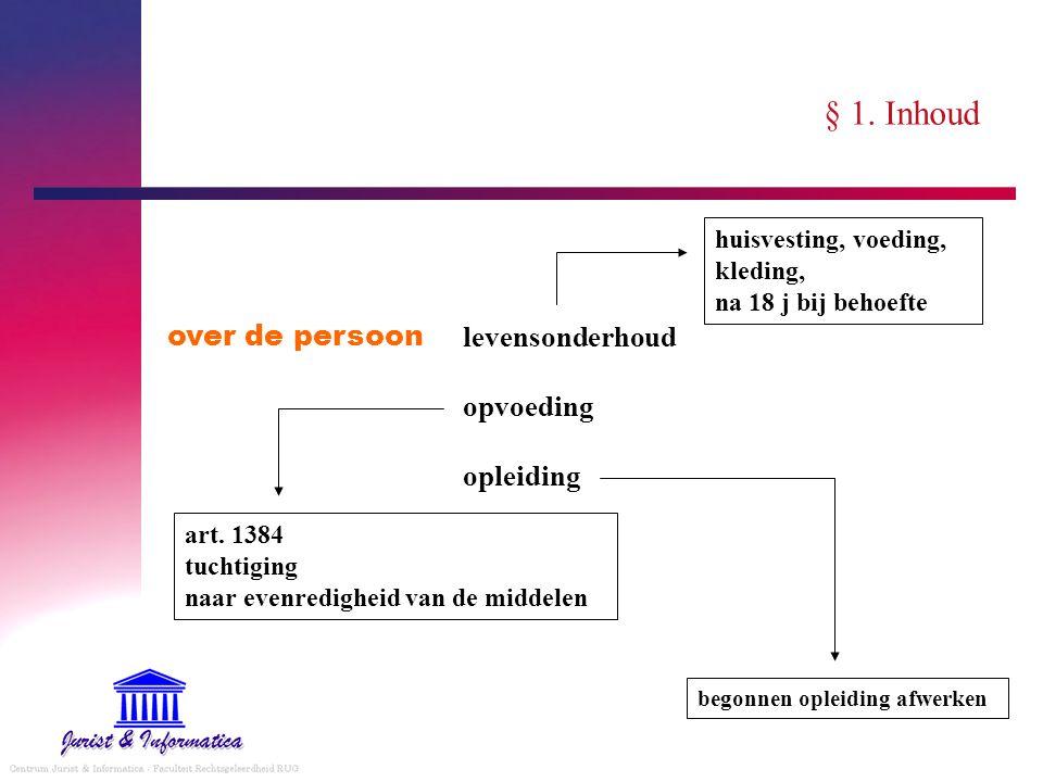 § 1. Inhoud over de persoon levensonderhoud opvoeding opleiding