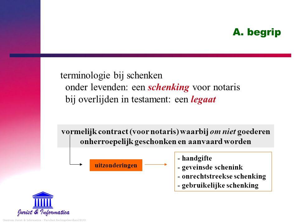 A. begrip terminologie bij schenken onder levenden: een schenking voor notaris bij overlijden in testament: een legaat.