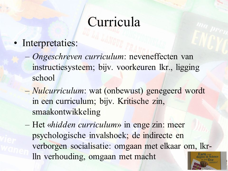 Curricula Interpretaties:
