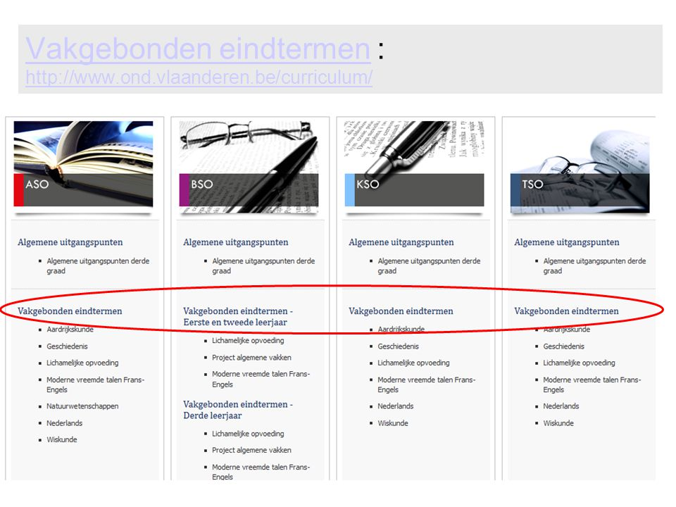 Vakgebonden eindtermen : http://www.ond.vlaanderen.be/curriculum/
