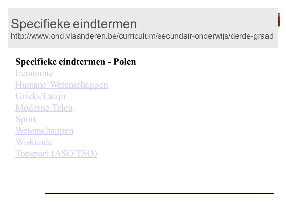 Specifieke eindtermen http://www. ond. vlaanderen