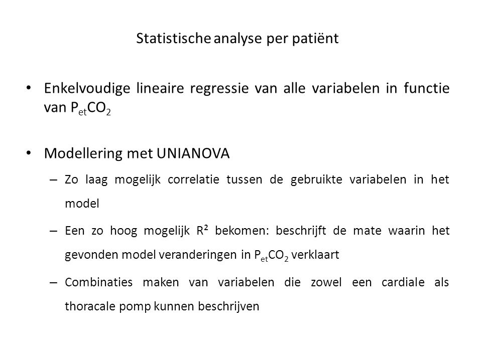 Statistische analyse per patiënt