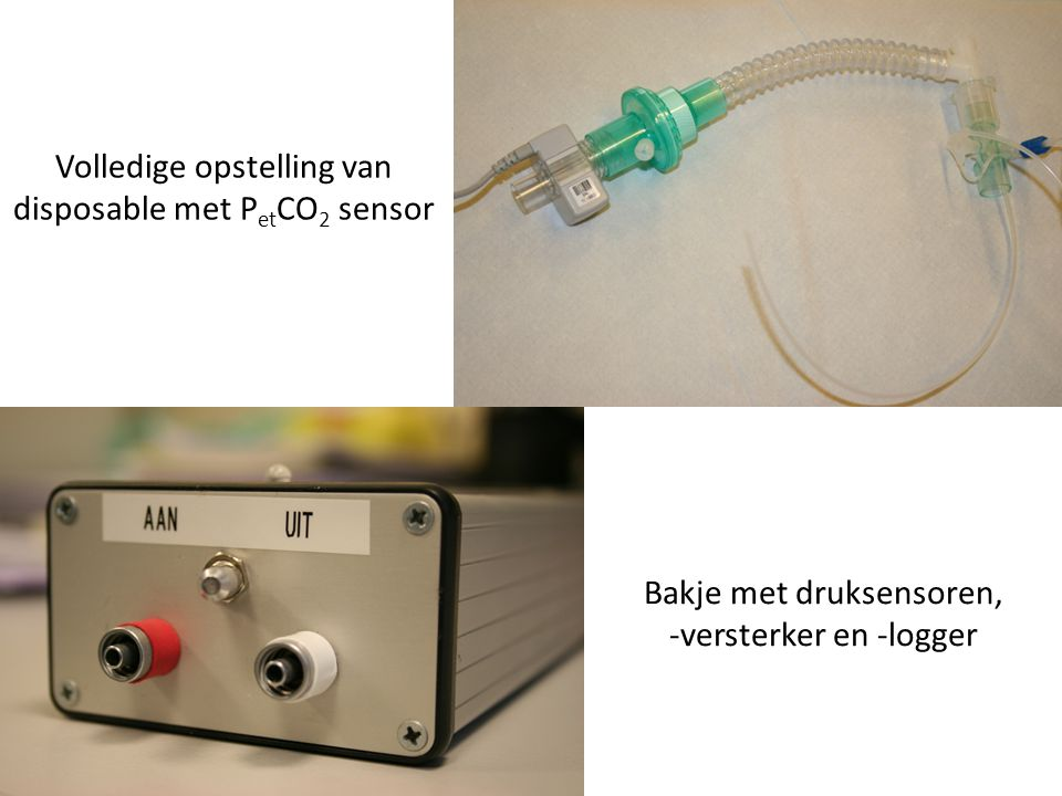 Volledige opstelling van disposable met PetCO2 sensor