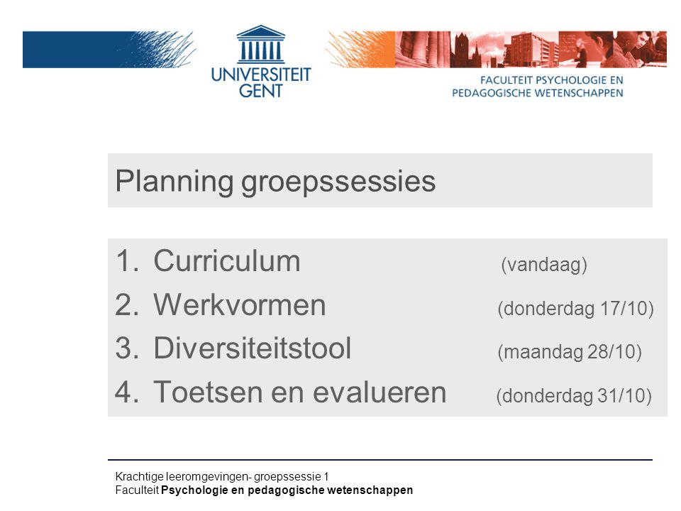 Planning groepssessies