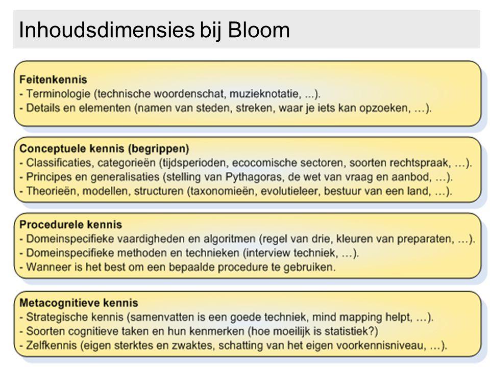 Inhoudsdimensies bij Bloom