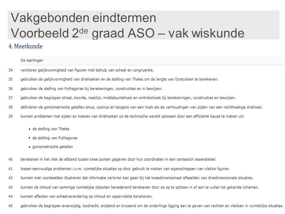 Vakgebonden eindtermen Voorbeeld 2de graad ASO – vak wiskunde