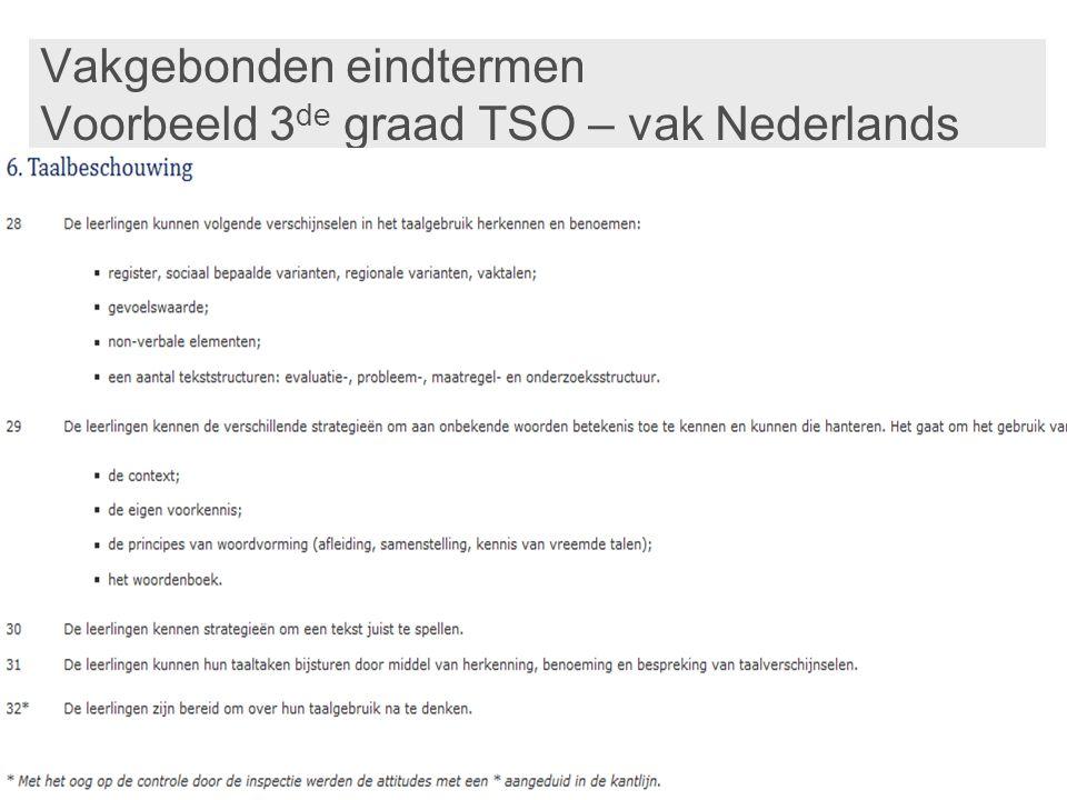 Vakgebonden eindtermen Voorbeeld 3de graad TSO – vak Nederlands