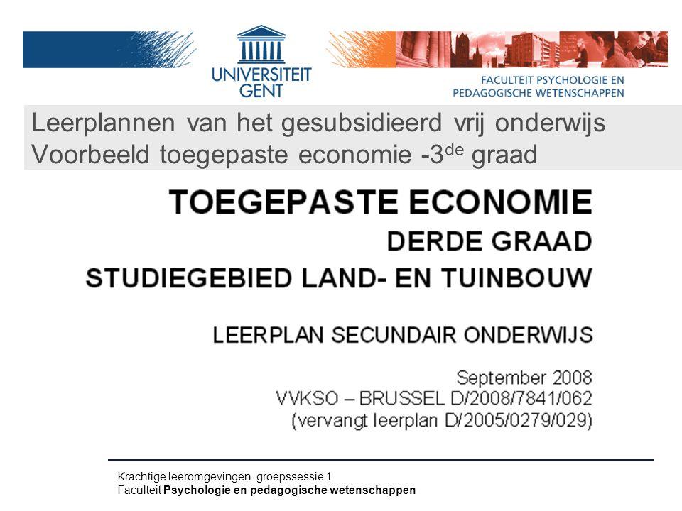 Leerplannen van het gesubsidieerd vrij onderwijs Voorbeeld toegepaste economie -3de graad
