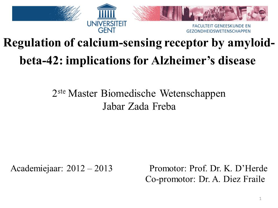 Regulation of calcium-sensing receptor by amyloid-beta-42: implications for Alzheimer's disease 2ste Master Biomedische Wetenschappen Jabar Zada Freba Academiejaar: 2012 – 2013 Promotor: Prof. Dr. K. D'Herde Co-promotor: Dr. A. Diez Fraile