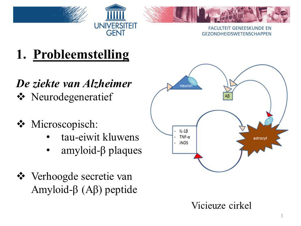 Probleemstelling De ziekte van Alzheimer Neurodegeneratief