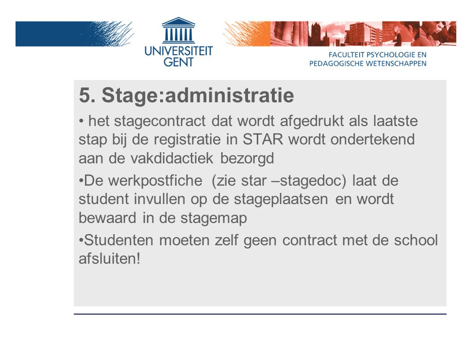 5. Stage:administratie