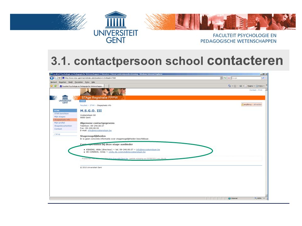 3.1. contactpersoon school contacteren