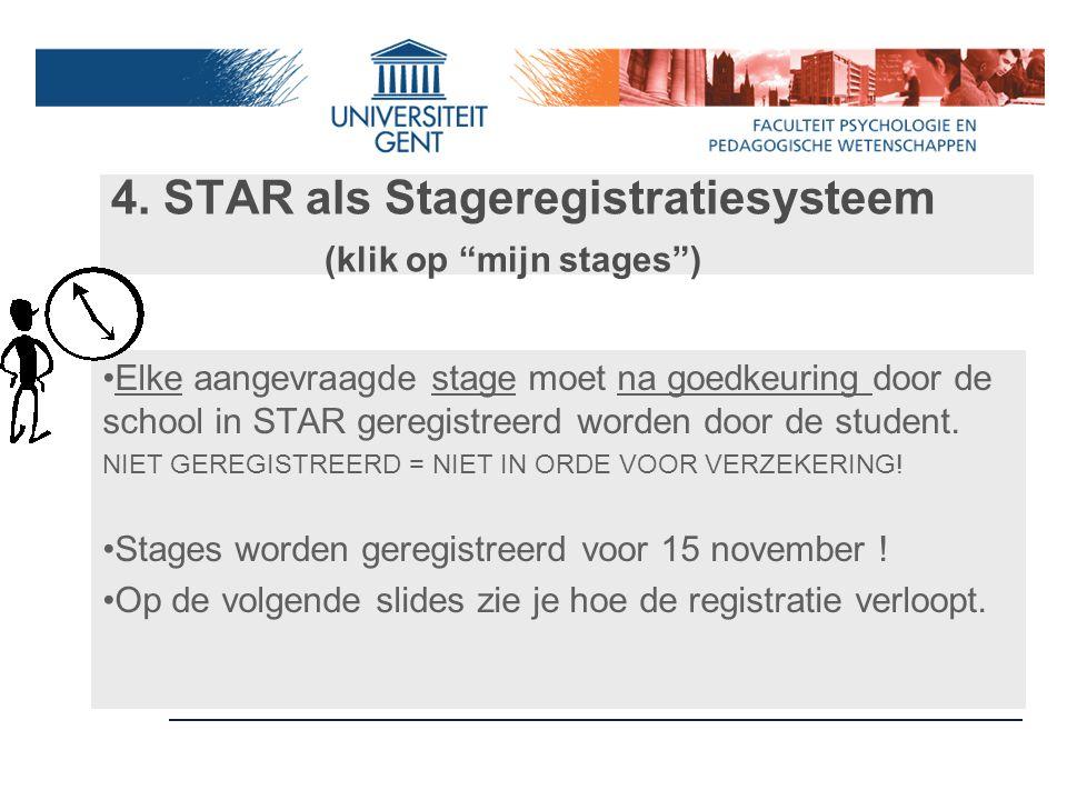 4. STAR als Stageregistratiesysteem (klik op mijn stages )